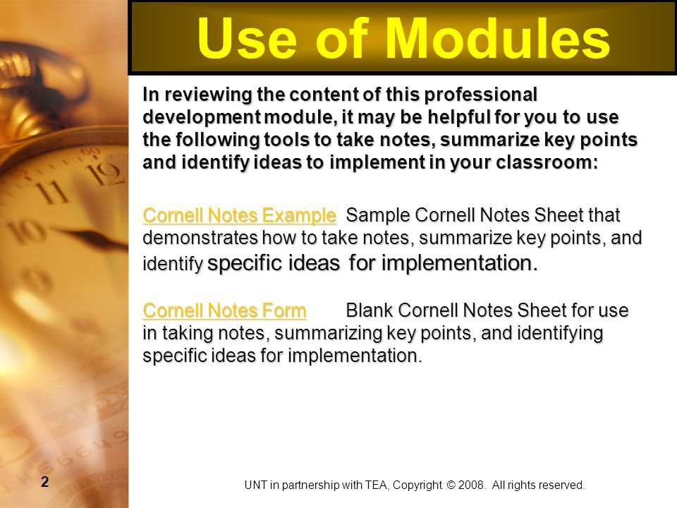 3 Use of Modules Mind Map ExampleMind Map Example Example of how to use a mind map to take notes, summarize key points, and identify specific ideas for implementation.