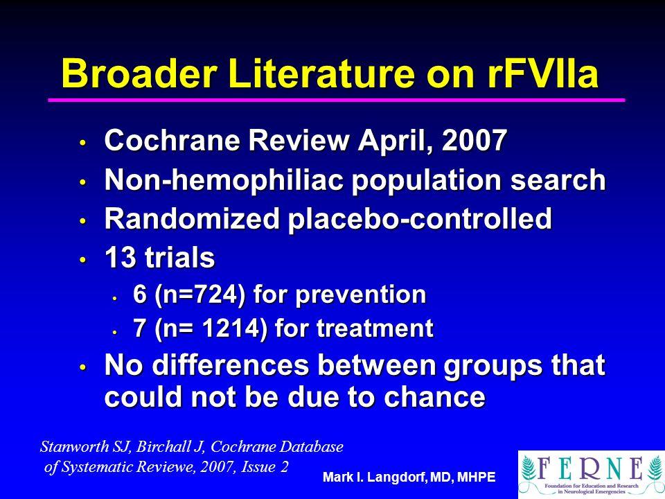 Mark I. Langdorf, MD, MHPE Broader Literature on rFVIIa Cochrane Review April, 2007 Cochrane Review April, 2007 Non-hemophiliac population search Non-