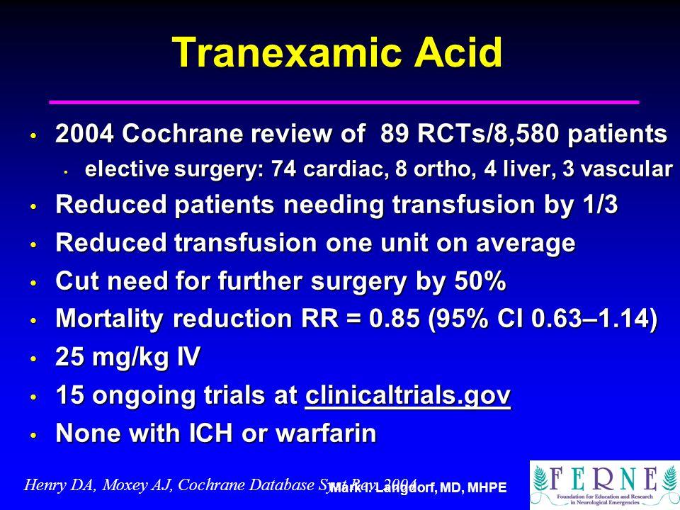 Mark I. Langdorf, MD, MHPE Tranexamic Acid 2004 Cochrane review of 89 RCTs/8,580 patients 2004 Cochrane review of 89 RCTs/8,580 patients elective surg