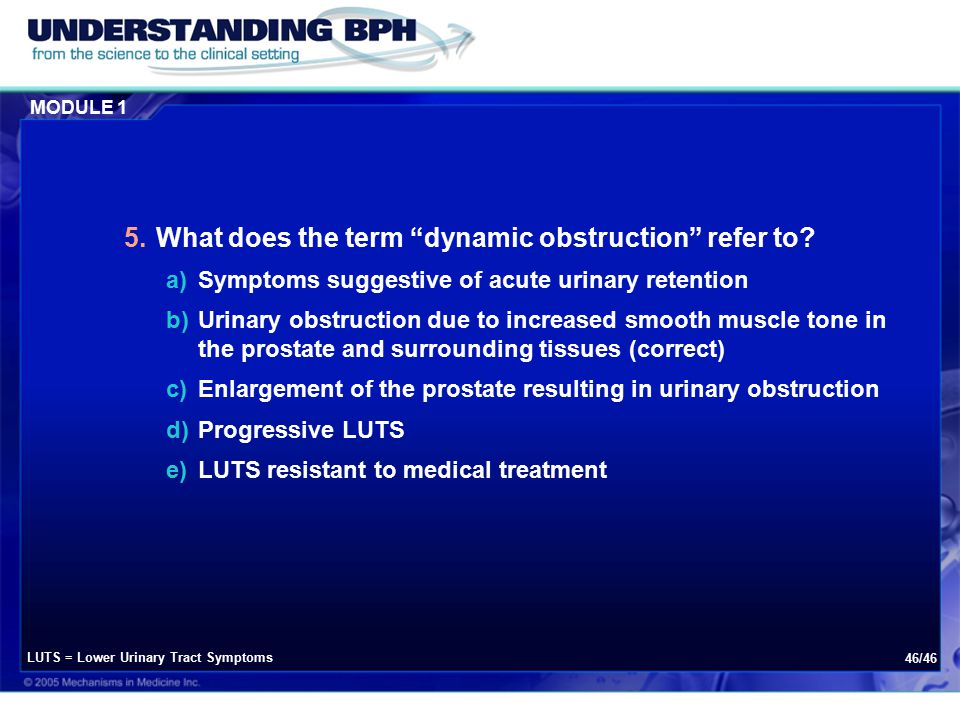 MODULE 1 46/46 5.What does the term dynamic obstruction refer to.