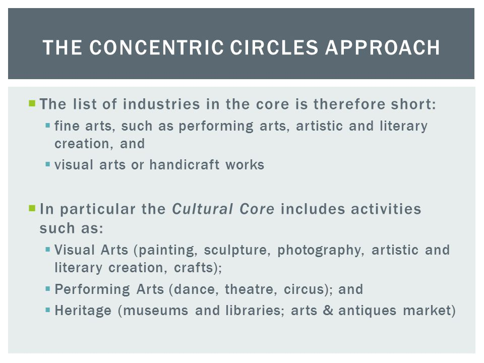  The approach identifies a 'cultural core' and then a set of concentric circles through which the core content is distributed.