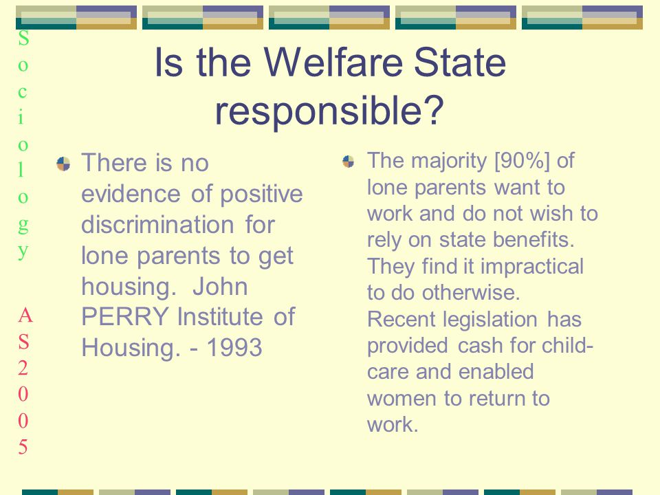Sociology AS2005Sociology AS2005 Is the Welfare State responsible.