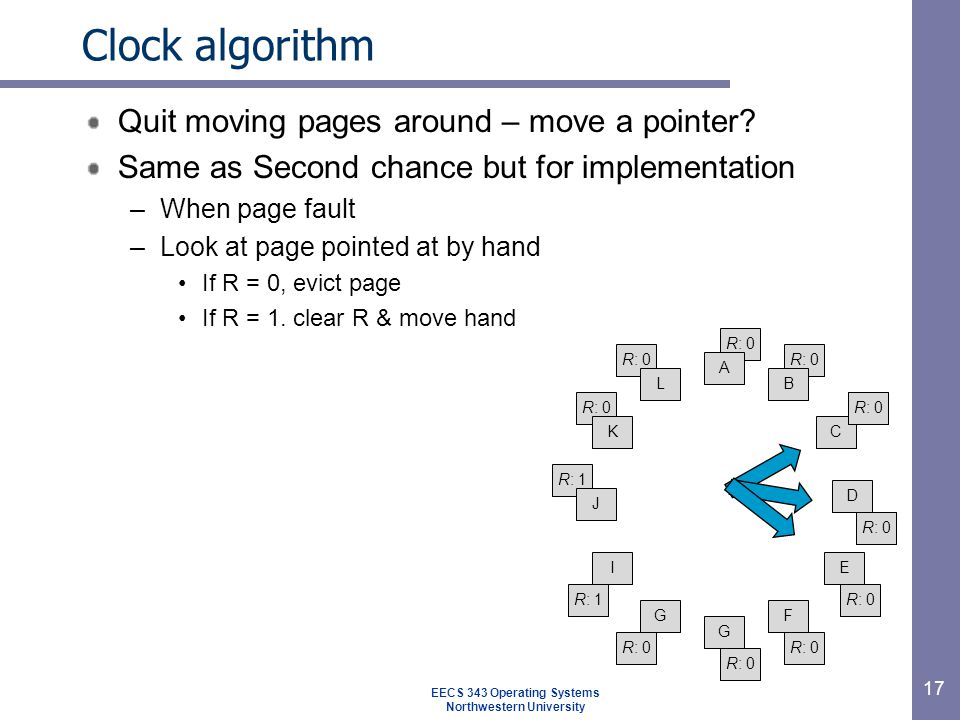 17 Clock algorithm Quit moving pages around – move a pointer.