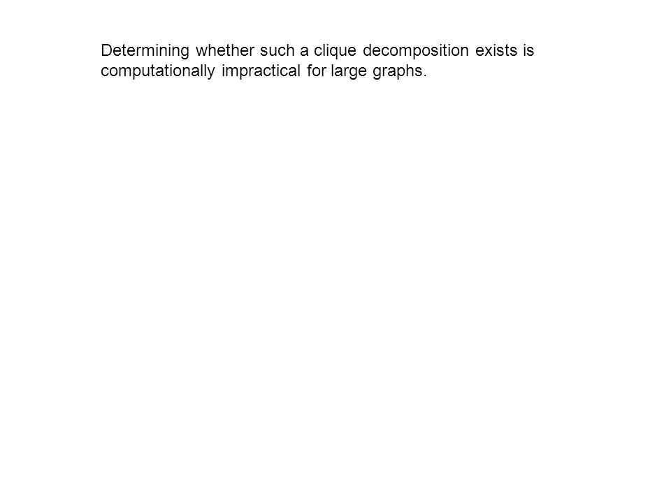 Determining whether such a clique decomposition exists is computationally impractical for large graphs.