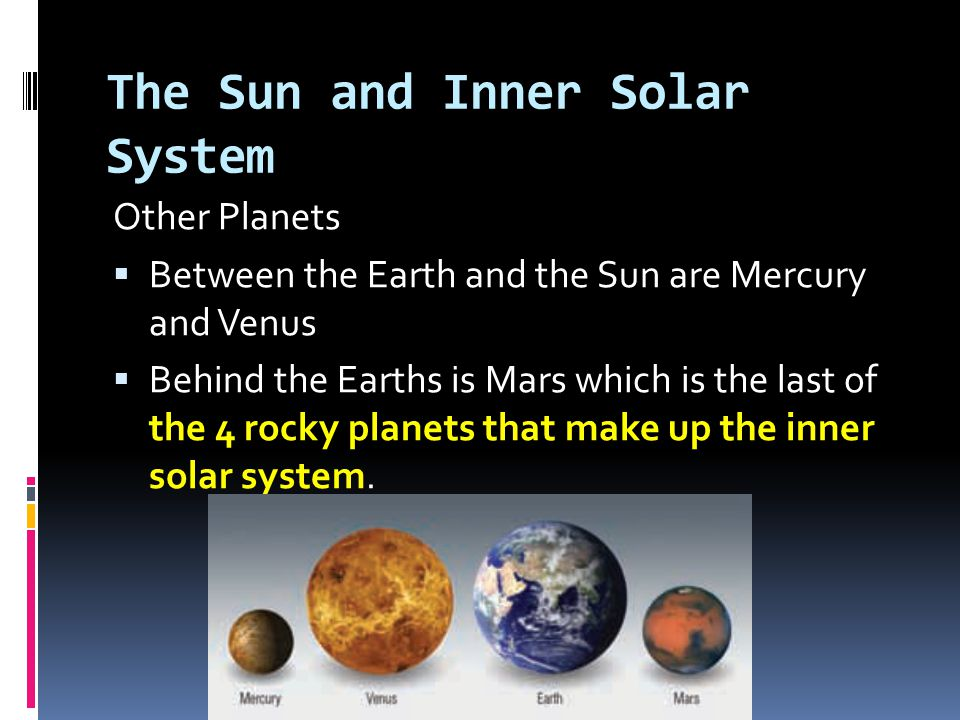 The Sun and Inner Solar System Other Planets  Between the Earth and the Sun are Mercury and Venus  Behind the Earths is Mars which is the last of th