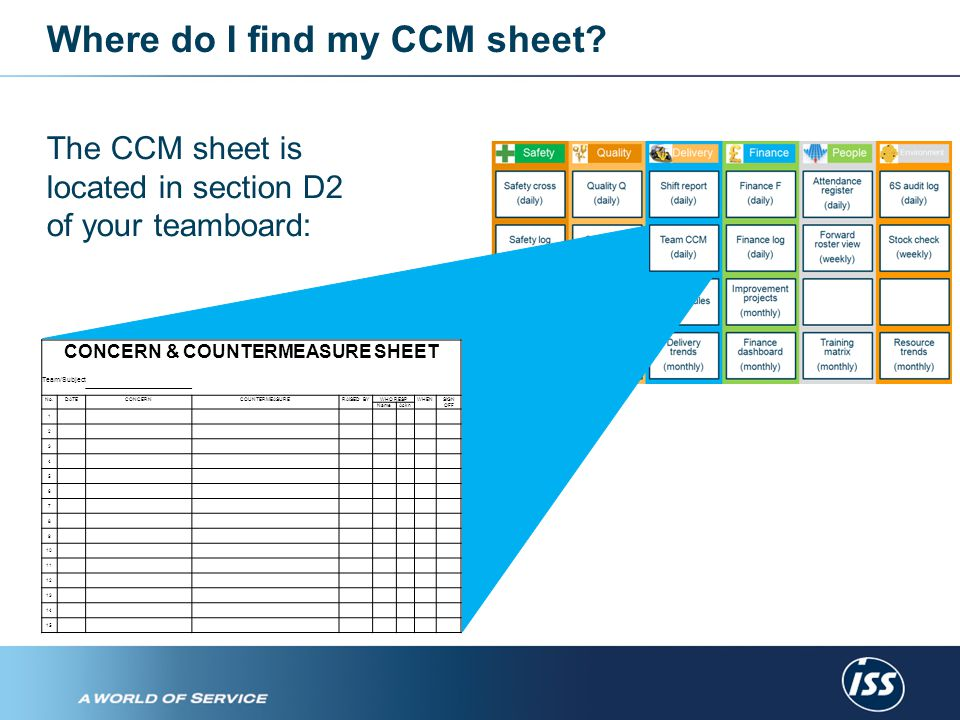 What does a CCM sheet look like.