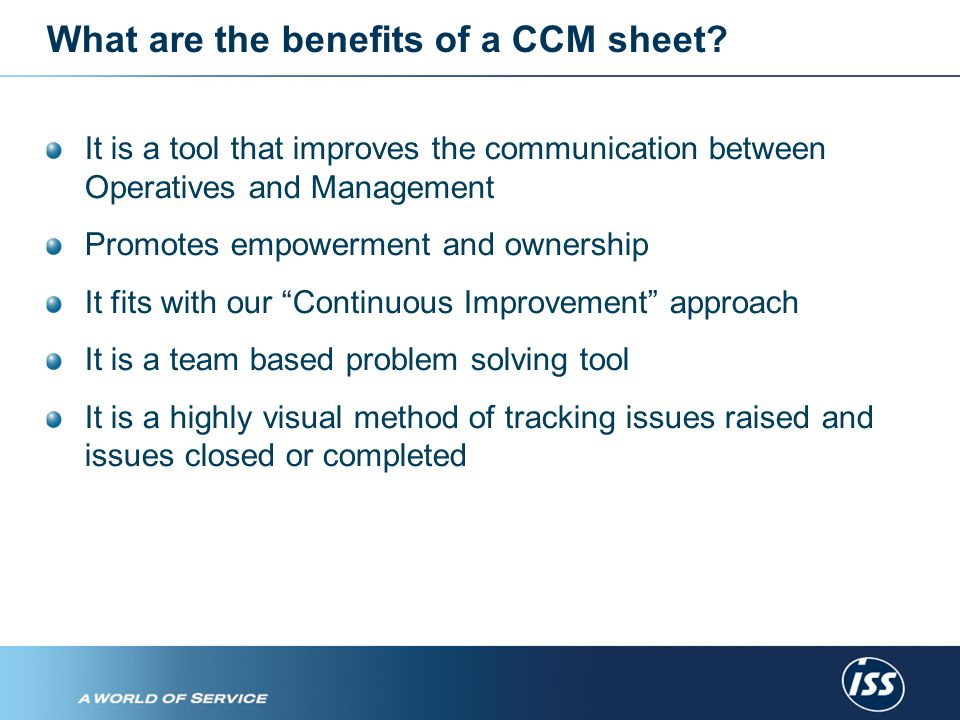 So, what is the procedure for using the CCM sheet.