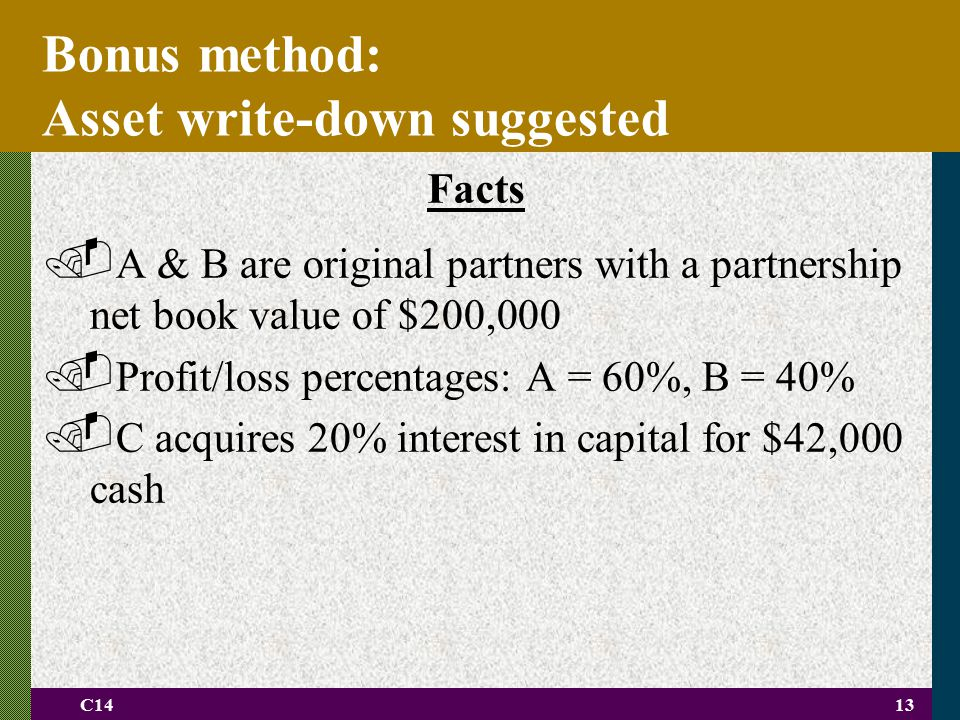 C1413 Bonus method: Asset write-down suggested Facts. A & B are original partners with a partnership net book value of $200,000. Profit/loss percentag