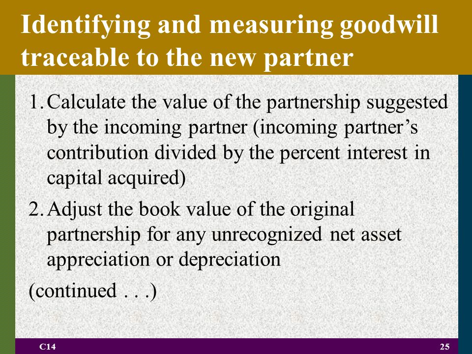 C1425 Identifying and measuring goodwill traceable to the new partner 1.Calculate the value of the partnership suggested by the incoming partner (inco
