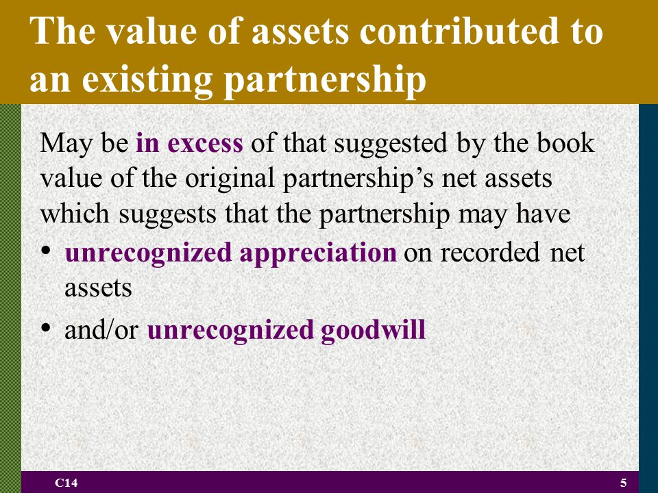 C145 The value of assets contributed to an existing partnership unrecognized appreciation on recorded net assets and/or unrecognized goodwill May be i