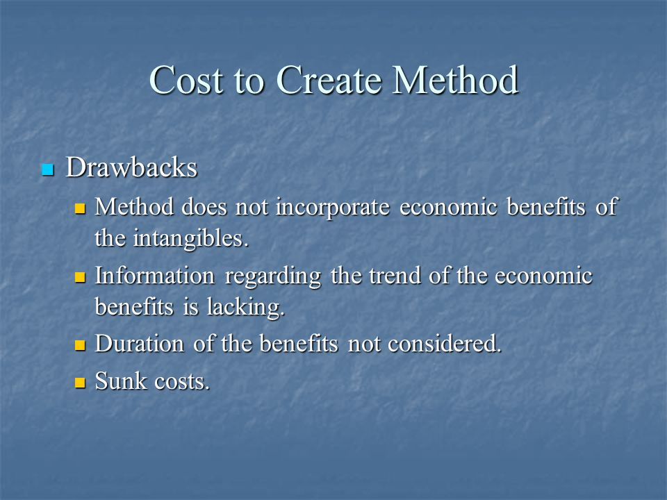 Cost to Create Method Drawbacks Drawbacks Method does not incorporate economic benefits of the intangibles.