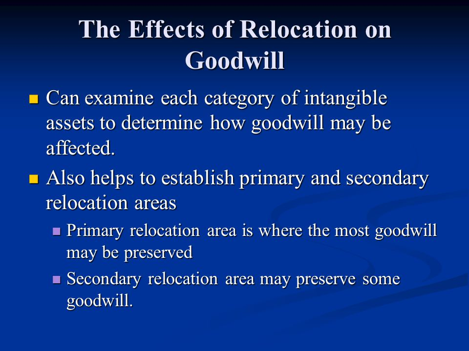 The Effects of Relocation on Goodwill Can examine each category of intangible assets to determine how goodwill may be affected.