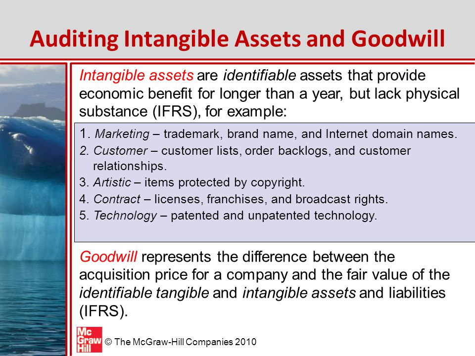 © The McGraw-Hill Companies 2010 Inherent Risk Assessment – Intangible Assets and Goodwill The inherent risk associated with intangible assets and goodwill raises serious risk considerations.