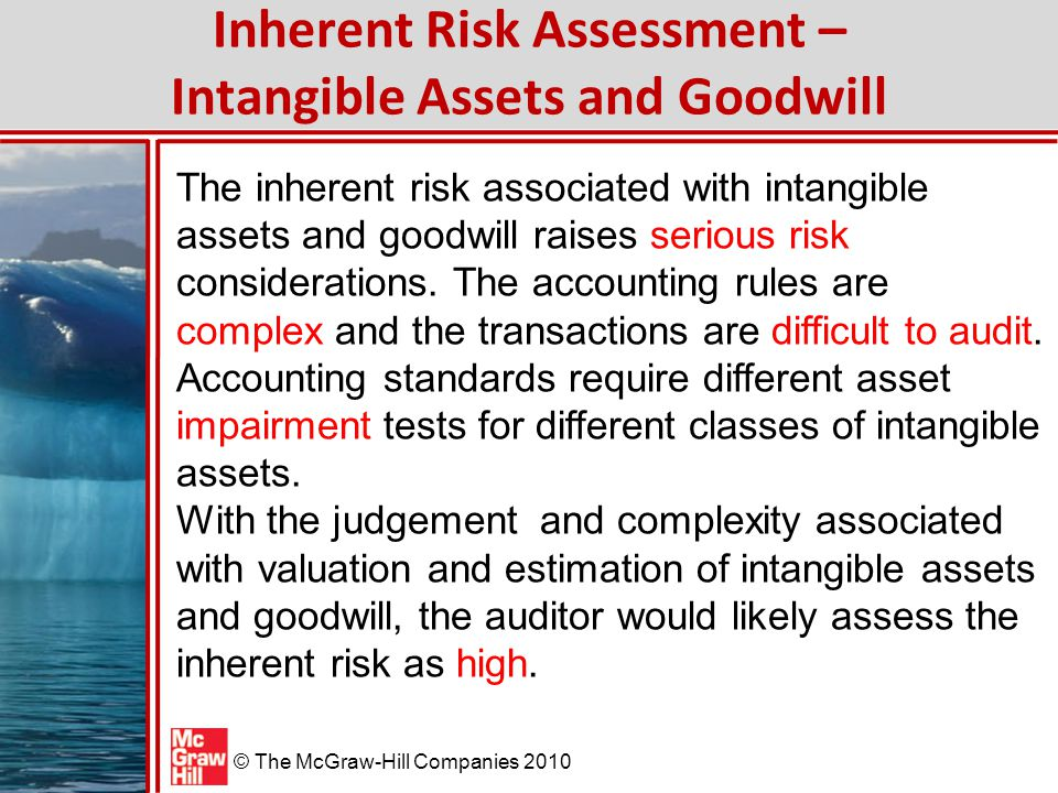 © The McGraw-Hill Companies 2010 Control Risk Assessment – Intangible Assets and Goodwill In assessing control risk, the auditor considers factors such as: 1.The expertise and experience of those determining the fair value of the assets.