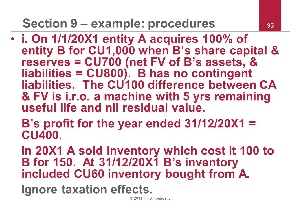 © 2011 IFRS Foundation 35 Section 9 – example: procedures i.