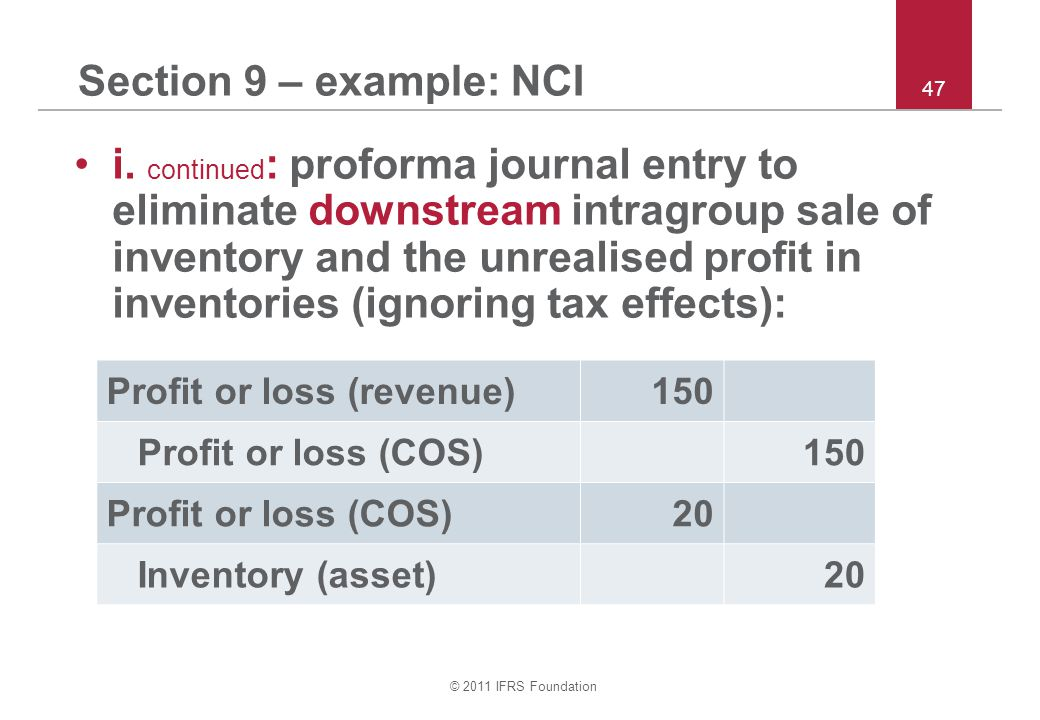 © 2011 IFRS Foundation 47 Section 9 – example: NCI i.