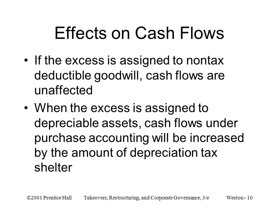 ©2001 Prentice Hall Takeovers, Restructuring, and Corporate Governance, 3/e Weston - 10 Effects on Cash Flows If the excess is assigned to nontax deductible goodwill, cash flows are unaffected When the excess is assigned to depreciable assets, cash flows under purchase accounting will be increased by the amount of depreciation tax shelter