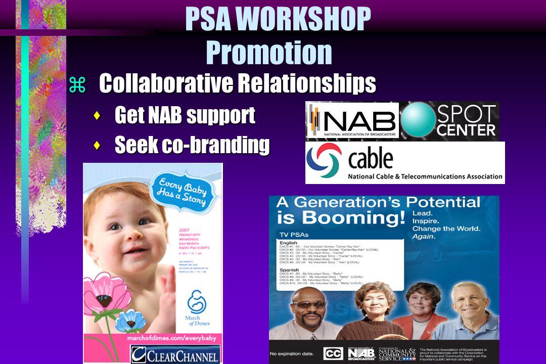  Collaborative Relationships s Get NAB support s Seek co-branding PSA WORKSHOP Promotion