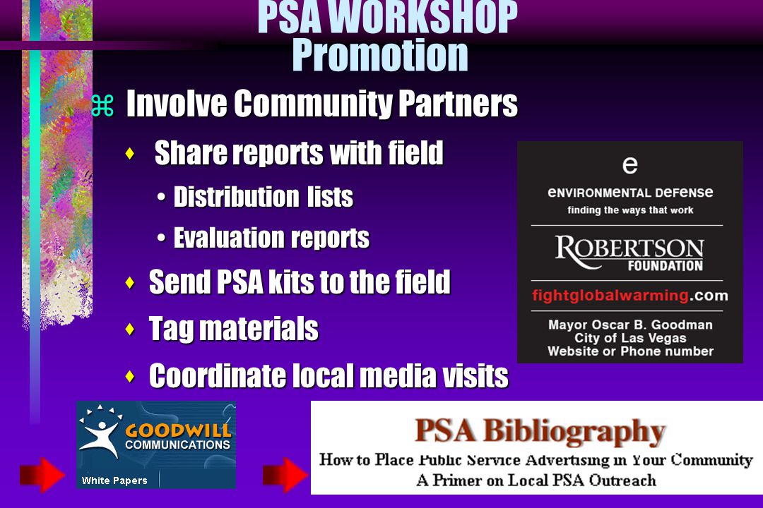 PSA WORKSHOP Promotion  Involve Community Partners s Share reports with field Distribution listsDistribution lists Evaluation reportsEvaluation repor