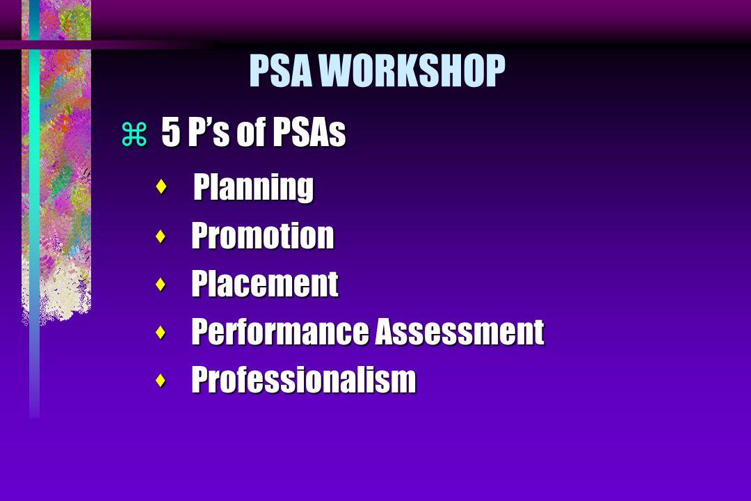 PSA WORKSHOP  5 P's of PSAs s Planning s Promotion s Placement s Performance Assessment s Professionalism