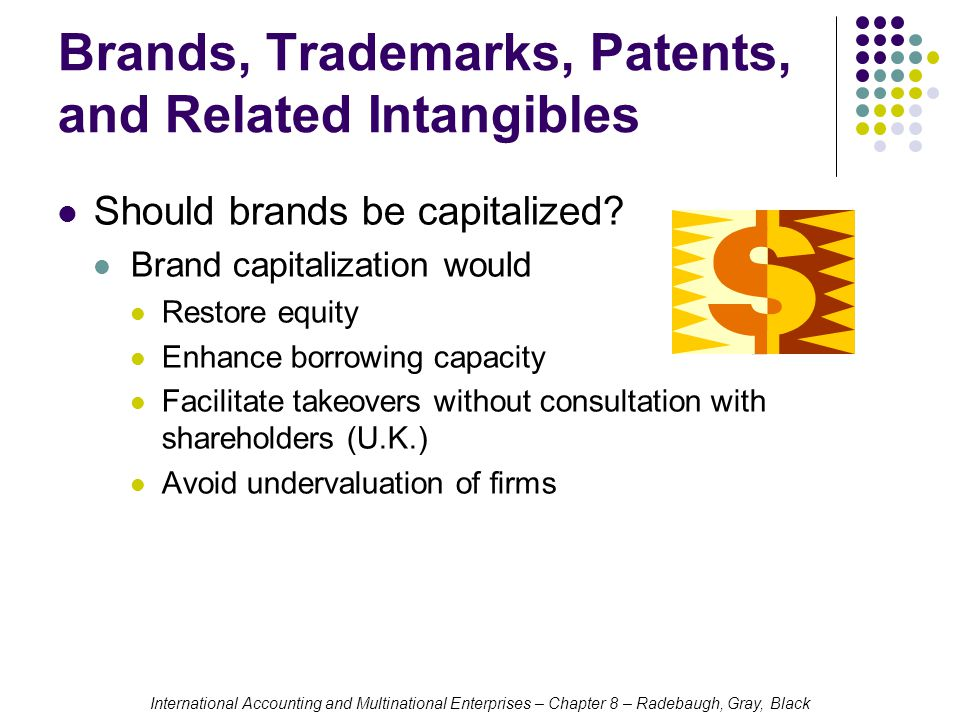International Accounting and Multinational Enterprises – Chapter 8 – Radebaugh, Gray, Black Brands, Trademarks, Patents, and Related Intangibles Should brands be capitalized.