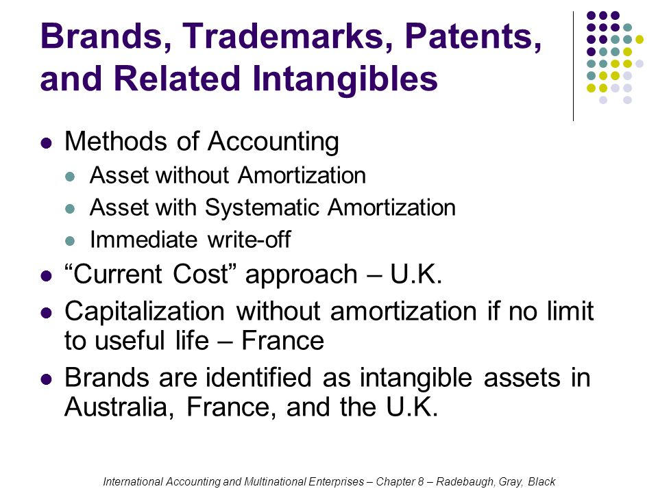 International Accounting and Multinational Enterprises – Chapter 8 – Radebaugh, Gray, Black Brands, Trademarks, Patents, and Related Intangibles Methods of Accounting Asset without Amortization Asset with Systematic Amortization Immediate write-off Current Cost approach – U.K.