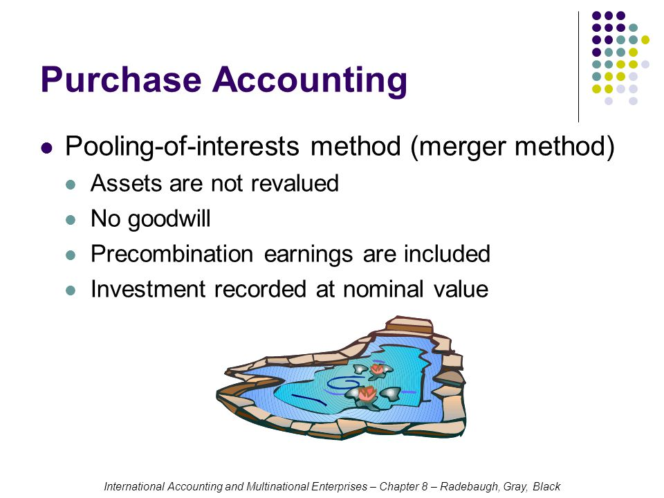 International Accounting and Multinational Enterprises – Chapter 8 – Radebaugh, Gray, Black Purchase Accounting Pooling-of-interests method (merger method) Assets are not revalued No goodwill Precombination earnings are included Investment recorded at nominal value