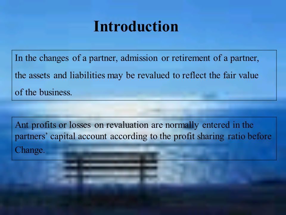Chang of partnership --Admission of new partners --Retirement of partners --Change in profit-sharing ratio Revaluation of asset