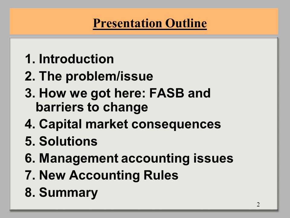 2 Presentation Outline 1. Introduction 2. The problem/issue 3.