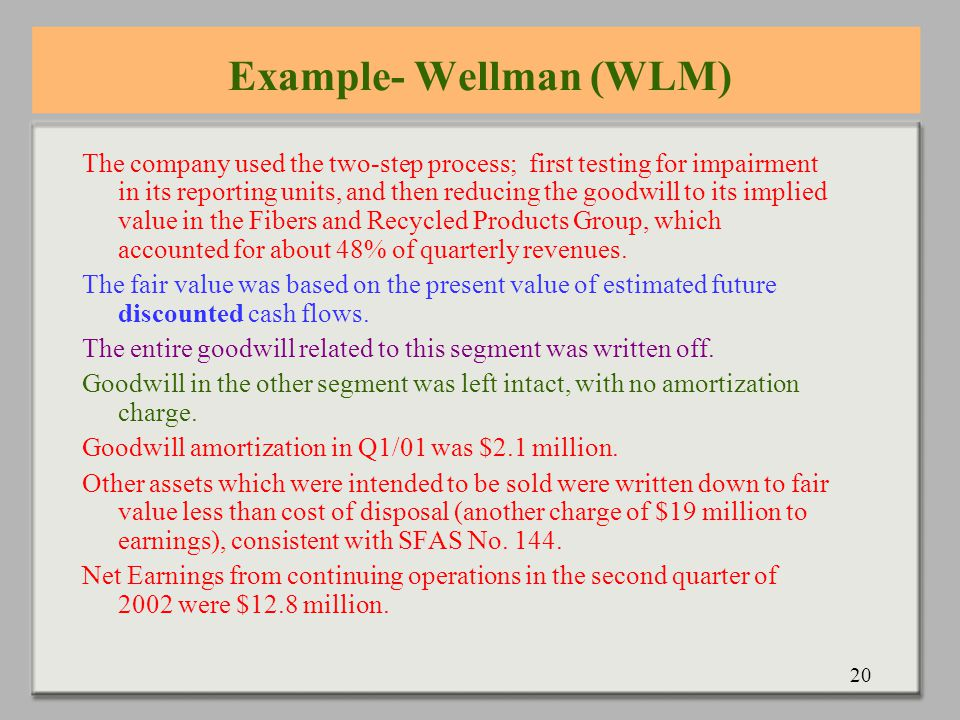20 Example- Wellman (WLM) The company used the two-step process; first testing for impairment in its reporting units, and then reducing the goodwill to its implied value in the Fibers and Recycled Products Group, which accounted for about 48% of quarterly revenues.