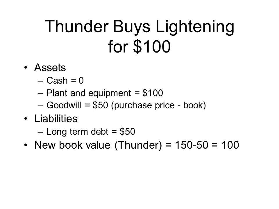 Thunder Buys Lightening for $100 Assets –Cash = 0 –Plant and equipment = $100 –Goodwill = $50 (purchase price - book) Liabilities –Long term debt = $50 New book value (Thunder) = 150-50 = 100