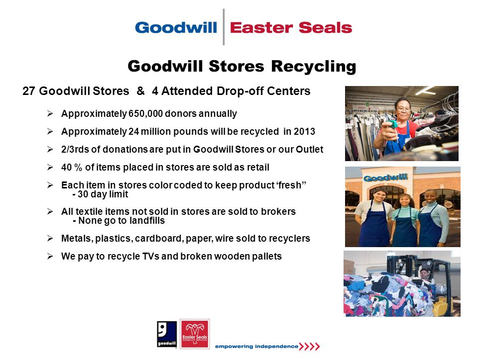 Goodwill Stores Recycling 27 Goodwill Stores & 4 Attended Drop-off Centers  Approximately 650,000 donors annually  Approximately 24 million pounds will be recycled in 2013  2/3rds of donations are put in Goodwill Stores or our Outlet  40 % of items placed in stores are sold as retail  Each item in stores color coded to keep product 'fresh - 30 day limit  All textile items not sold in stores are sold to brokers - None go to landfills  Metals, plastics, cardboard, paper, wire sold to recyclers  We pay to recycle TVs and broken wooden pallets