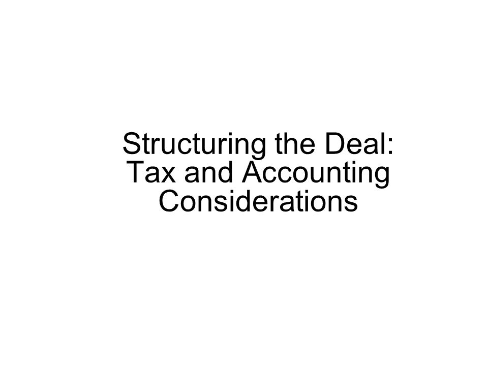 Alternative Tax-Free Structures A tax-free transaction is also known as a tax-free reorganization since it must satisfy the continuity of interests and business enterprise principles Of the 8 different types of tax-free reorganizations (Section 368 of the Internal Revenue Code), the most common are: –Type A reorganization (incl.