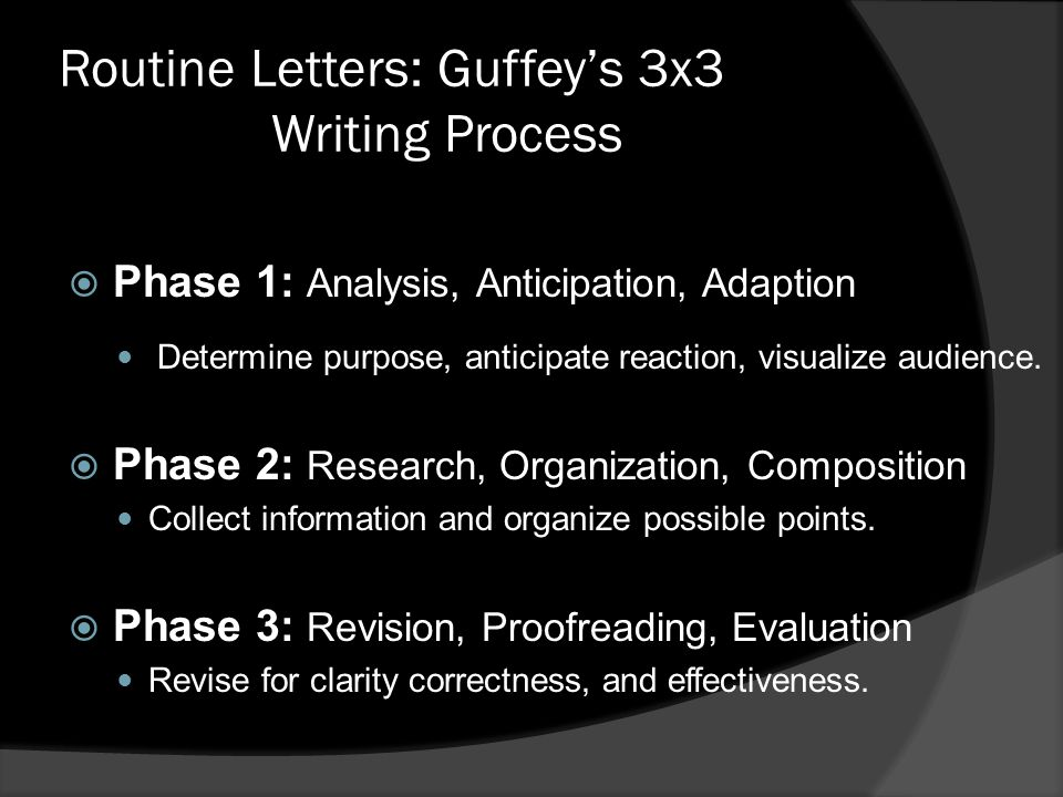 Routine Letters: Guffey's 3x3 Writing Process  Phase 1: Analysis, Anticipation, Adaption Determine purpose, anticipate reaction, visualize audience.