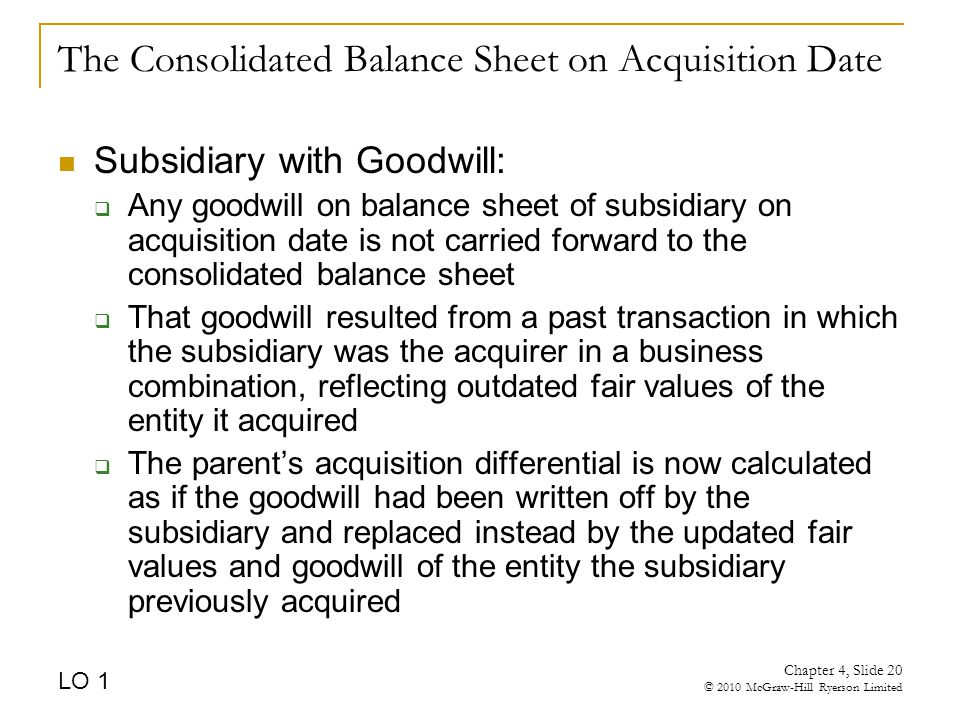 The Consolidated Balance Sheet on Acquisition Date Subsidiary with Goodwill:  Any goodwill on balance sheet of subsidiary on acquisition date is not carried forward to the consolidated balance sheet  That goodwill resulted from a past transaction in which the subsidiary was the acquirer in a business combination, reflecting outdated fair values of the entity it acquired  The parent's acquisition differential is now calculated as if the goodwill had been written off by the subsidiary and replaced instead by the updated fair values and goodwill of the entity the subsidiary previously acquired LO 1 Chapter 4, Slide 20 © 2010 McGraw-Hill Ryerson Limited