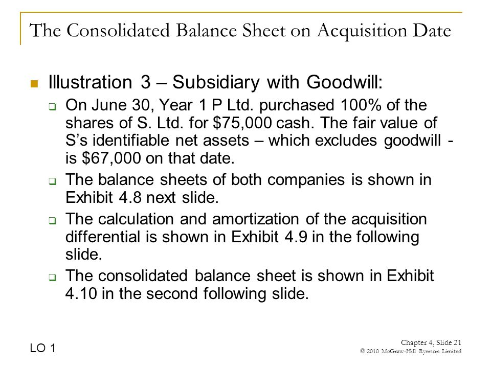 The Consolidated Balance Sheet on Acquisition Date Illustration 3 – Subsidiary with Goodwill:  On June 30, Year 1 P Ltd.