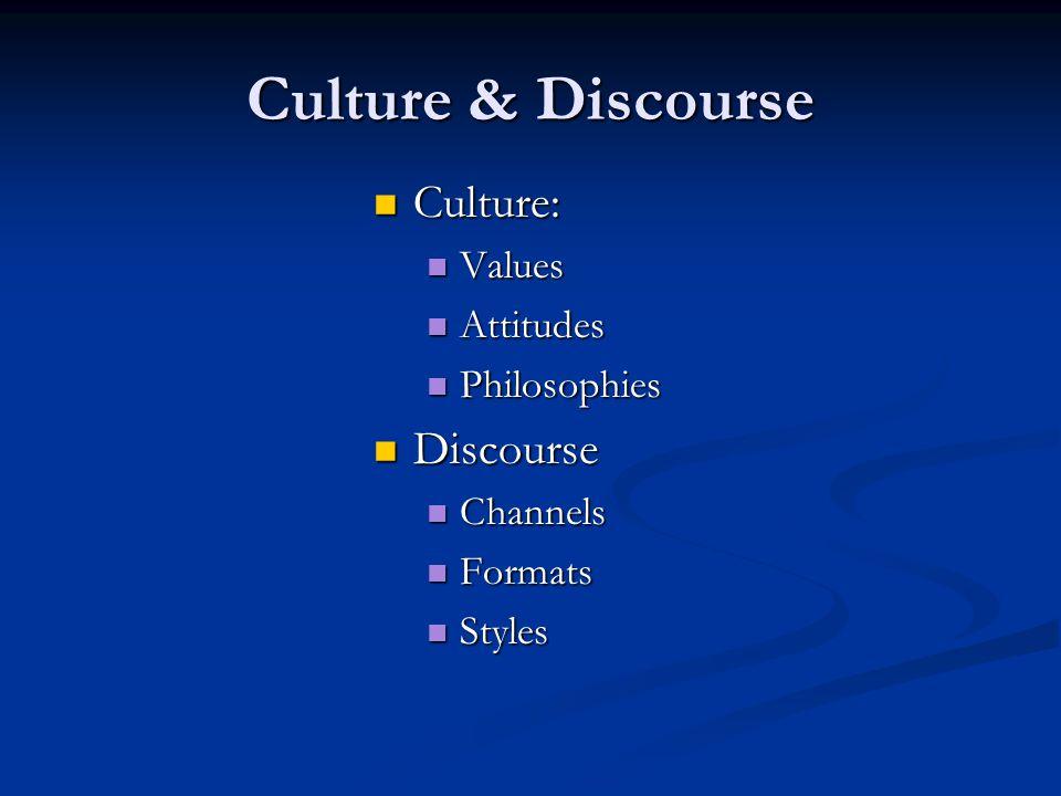 Culture & Discourse Culture: Culture: Values Values Attitudes Attitudes Philosophies Philosophies Discourse Discourse Channels Channels Formats Formats Styles Styles