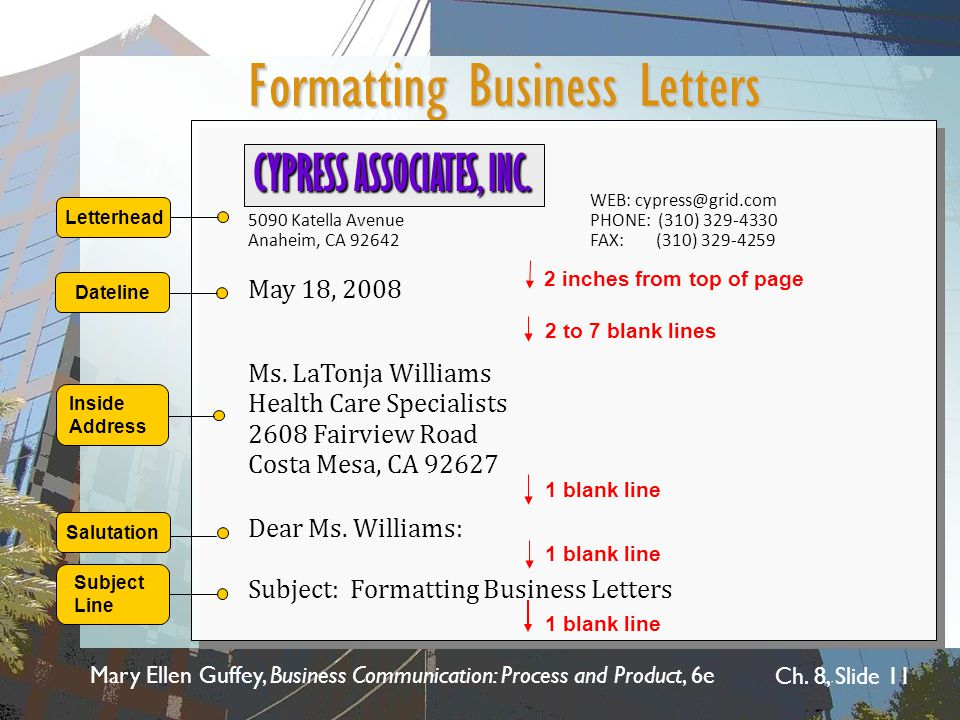 Mary Ellen Guffey, Business Communication: Process and Product, 6e Ch. 8, Slide 11 Formatting Business Letters WEB: cypress@grid.com 5090 Katella Aven