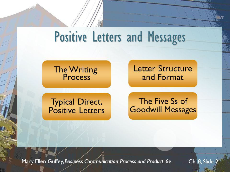 Mary Ellen Guffey, Business Communication: Process and Product, 6e Ch. 8, Slide 2 Positive Letters and Messages The Writing Process Typical Direct, Po
