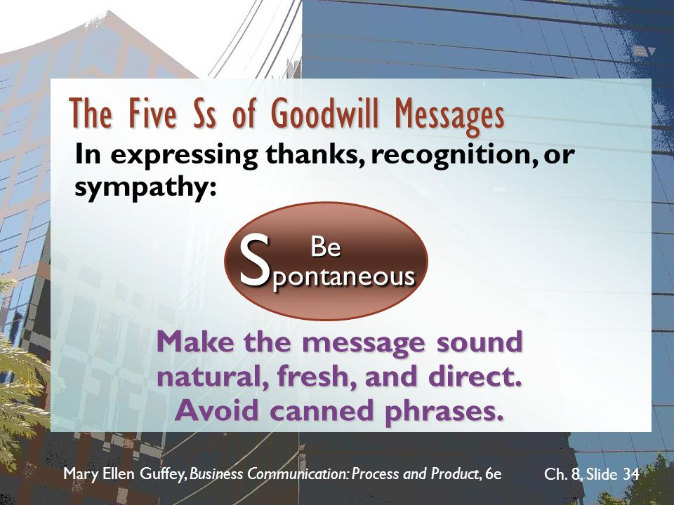 Mary Ellen Guffey, Business Communication: Process and Product, 6e Ch. 8, Slide 34 Make the message sound natural, fresh, and direct. Avoid canned phr