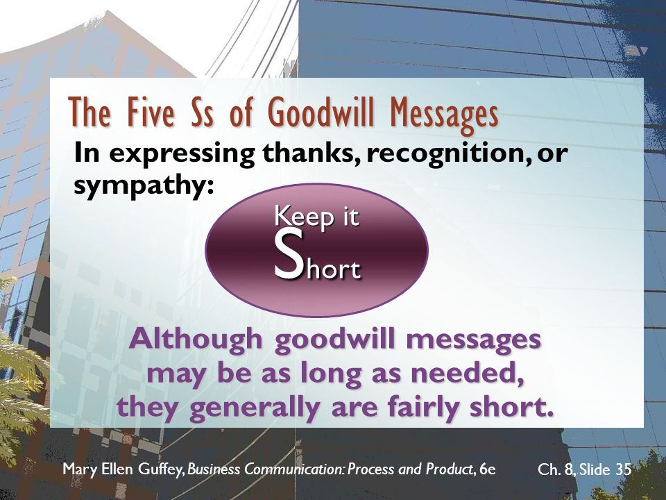 Mary Ellen Guffey, Business Communication: Process and Product, 6e Ch. 8, Slide 35 Although goodwill messages may be as long as needed, they generally