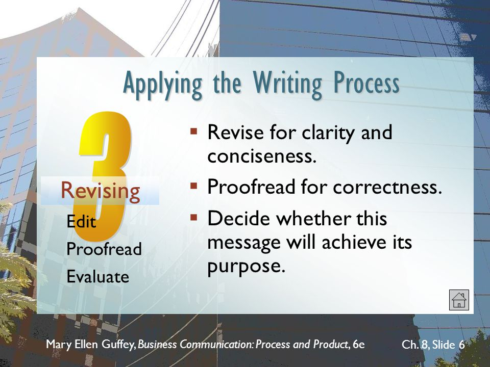 Mary Ellen Guffey, Business Communication: Process and Product, 6e Ch. 8, Slide 6  Revise for clarity and conciseness.  Proofread for correctness. 