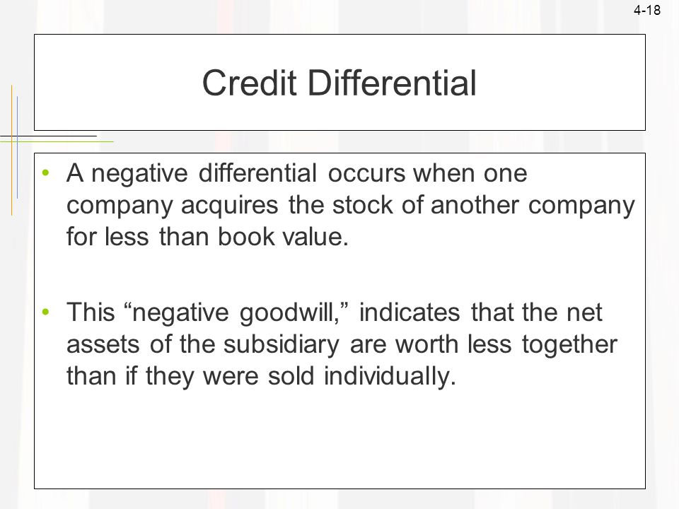 "4-18 Credit Differential A negative differential occurs when one company acquires the stock of another company for less than book value. This ""negativ"
