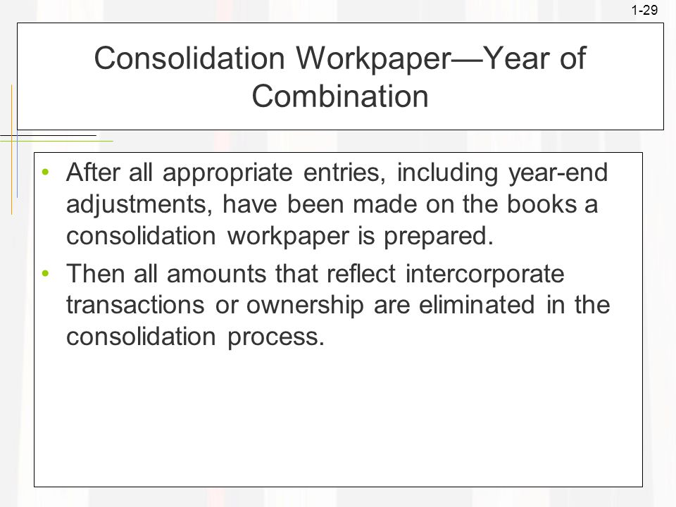 1-29 Consolidation Workpaper—Year of Combination After all appropriate entries, including year-end adjustments, have been made on the books a consolid