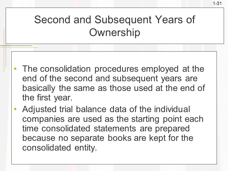 1-31 Second and Subsequent Years of Ownership The consolidation procedures employed at the end of the second and subsequent years are basically the sa