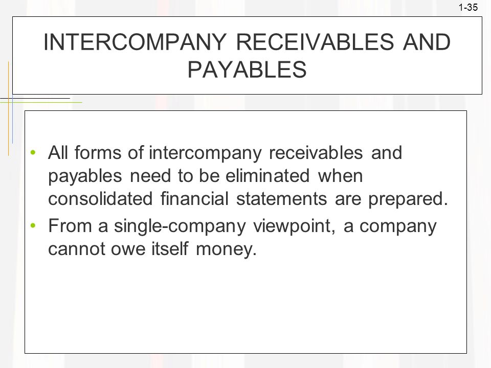 1-35 INTERCOMPANY RECEIVABLES AND PAYABLES All forms of intercompany receivables and payables need to be eliminated when consolidated financial statem