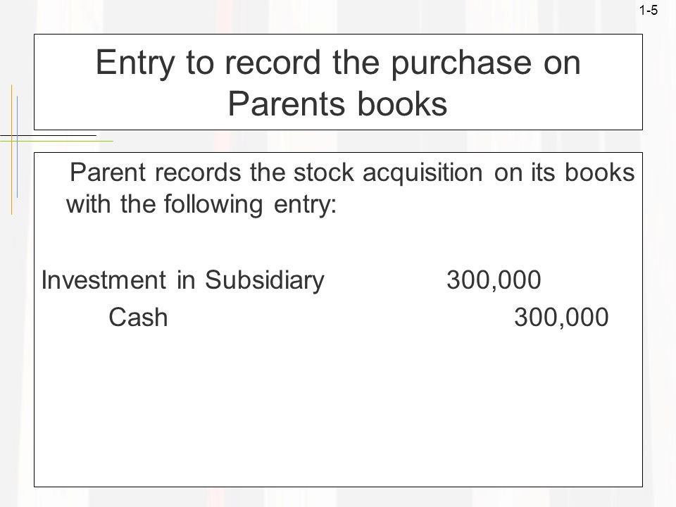 1-5 Entry to record the purchase on Parents books Parent records the stock acquisition on its books with the following entry: Investment in Subsidiary