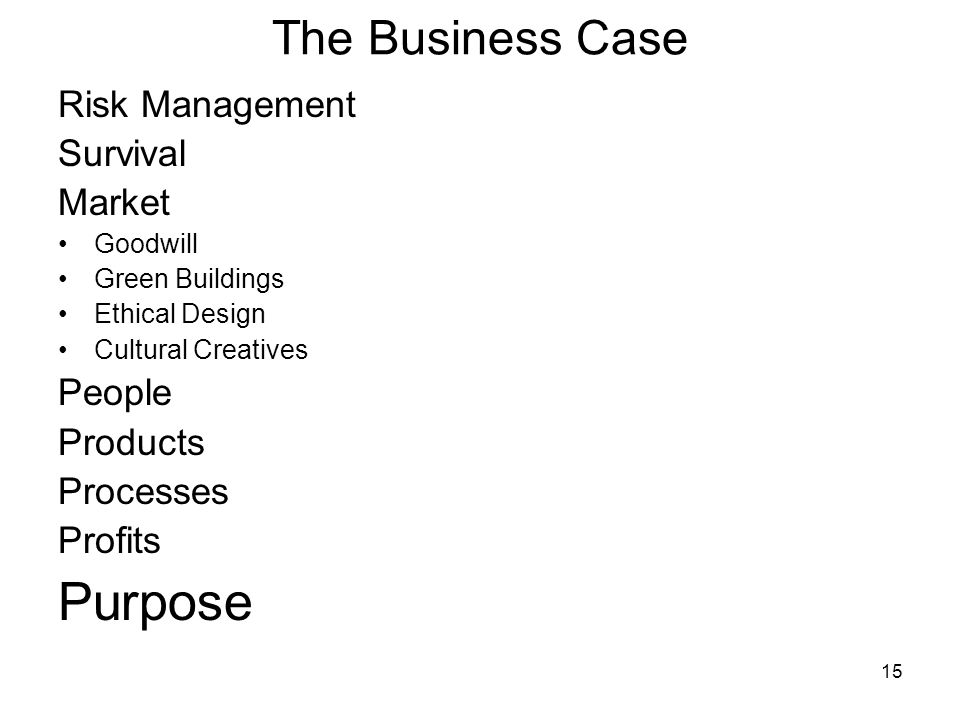 15 The Business Case Risk Management Survival Market Goodwill Green Buildings Ethical Design Cultural Creatives People Products Processes Profits Purpose