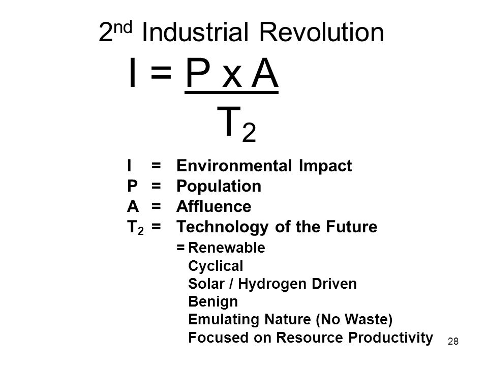 28 I = P x A T 2 I= Environmental Impact P= Population A = Affluence T 2 = Technology of the Future =Renewable Cyclical Solar / Hydrogen Driven Benign Emulating Nature (No Waste) Focused on Resource Productivity 2 nd Industrial Revolution