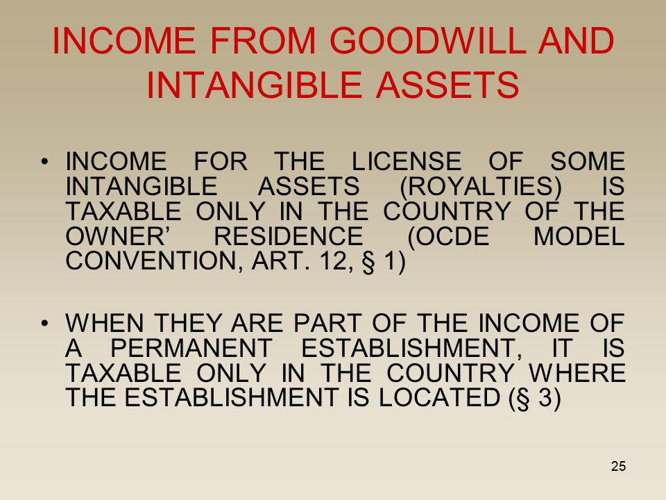 25 INCOME FROM GOODWILL AND INTANGIBLE ASSETS INCOME FOR THE LICENSE OF SOME INTANGIBLE ASSETS (ROYALTIES) IS TAXABLE ONLY IN THE COUNTRY OF THE OWNER